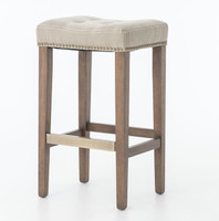 Ashford French Beige Tufted Nailhead Bar Stool