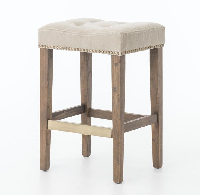Ashford French Beige Tufted Nailhead Counter Stool Zin Home