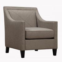Asheville Light Grey Upholstered Linen ArmChair
