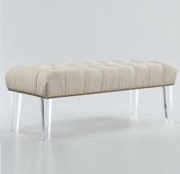 Stella Beige Linen Upholstered Lucite Bench