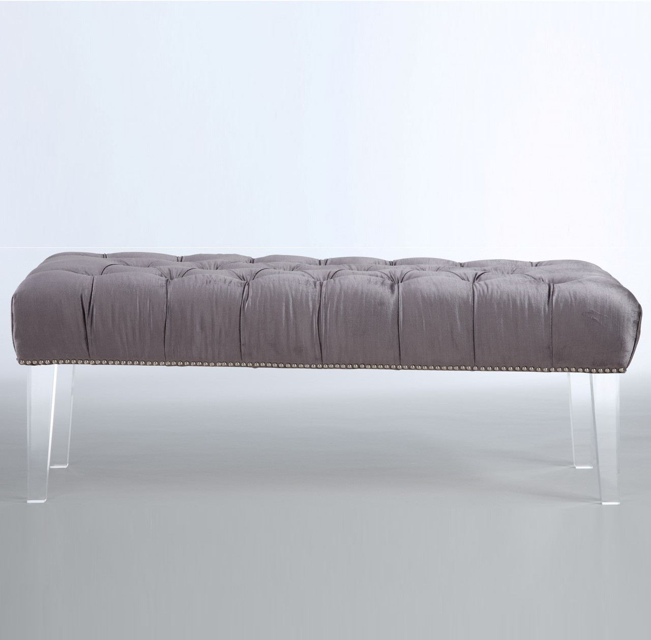 stella grey velvet tufted acrylic bed end bench | zin home