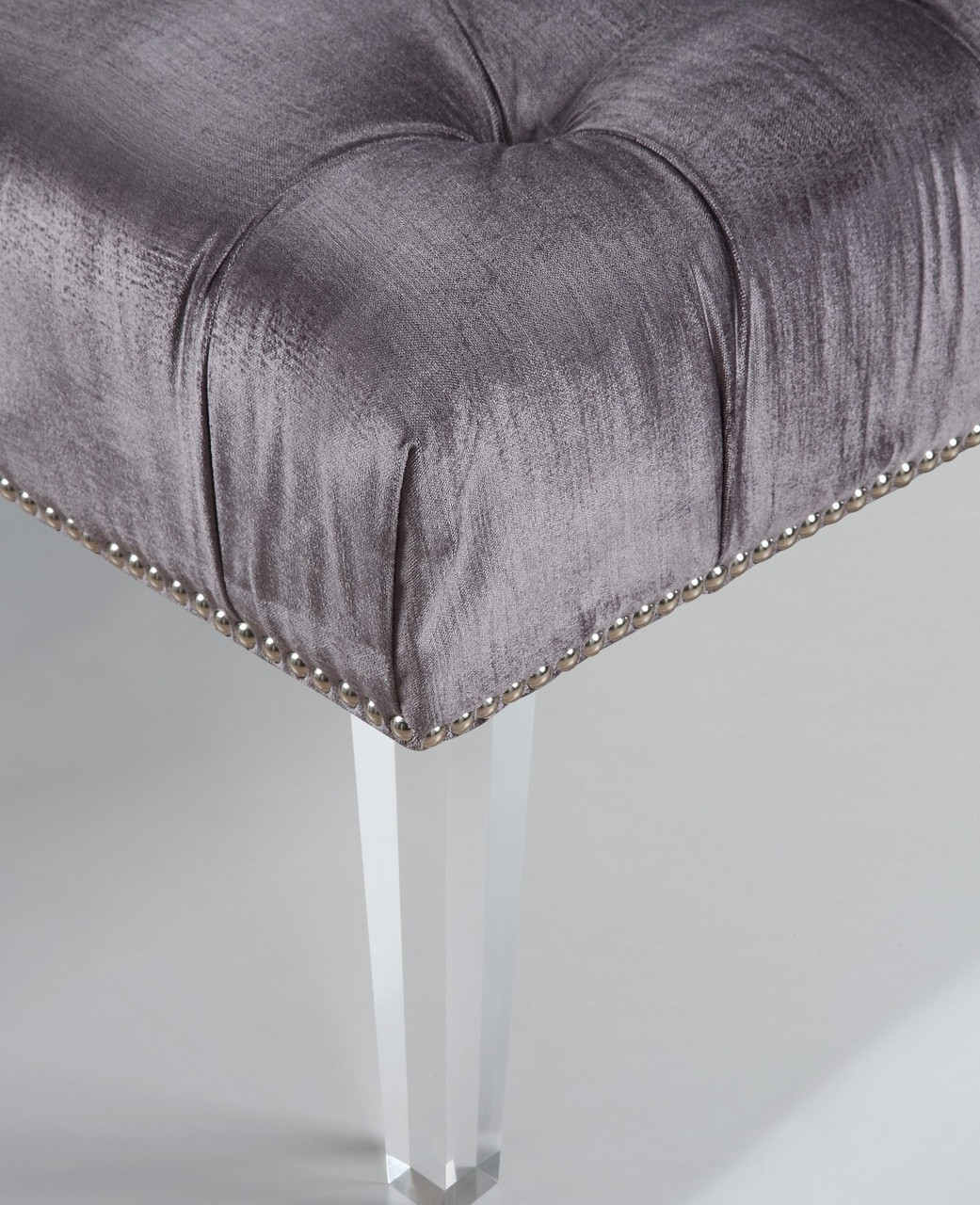 Stella Grey Velvet Tufted Acrylic Bed End Bench Zin Home