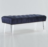 Stella Navy Velvet Upholstered Acrylic Bed End Benches