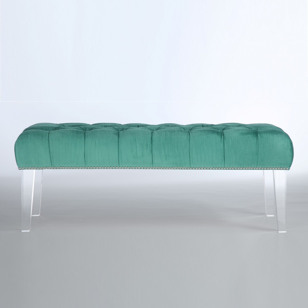 stella turquoise velvet upholstered lucite bench | zin home