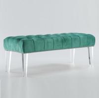 Stella Turquoise Velvet Upholstered Lucite Bench