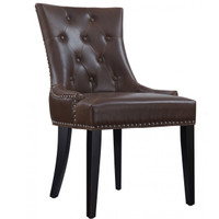 Uptown Tufted Antique Brown Leather Dining Chair