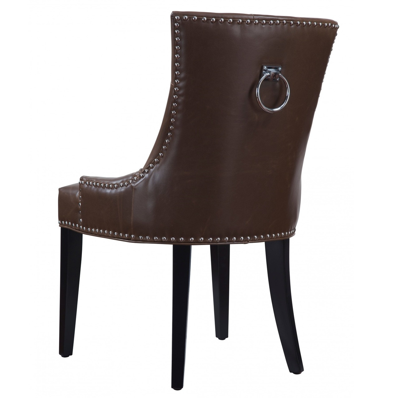 Uptown tufted antique brown leather dining chair zin home for Tufted leather dining room chairs