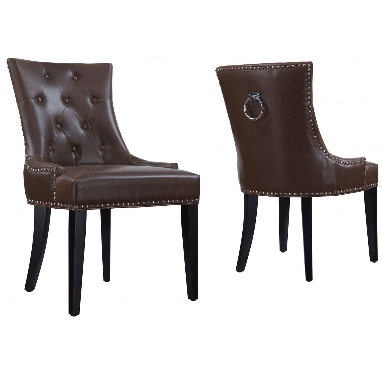 Uptown tufted antique brown leather dining chair zin home for Brown leather dining room chairs