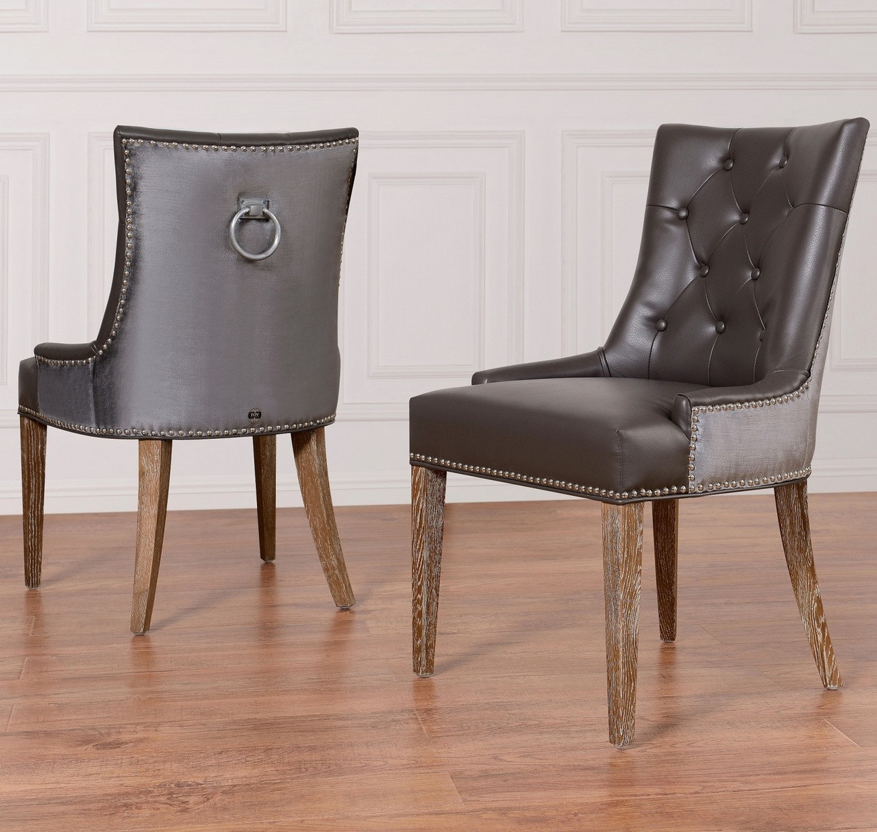 Uptown Navy Velvet Leather Dining Side Chair Zin Home