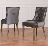 Uptown Navy Velvet + Leather Dining Side Chair