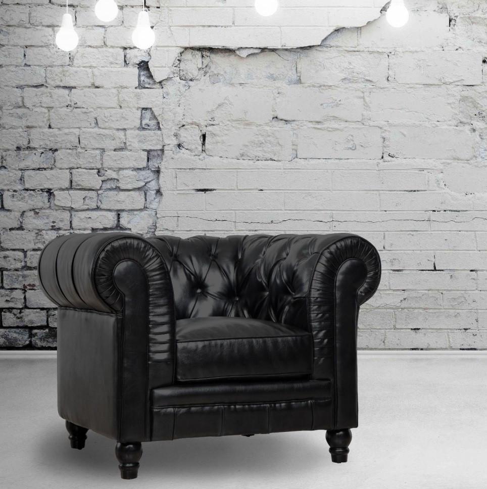 Zahara Black Leather Chesterfield Club Chair Zin Home