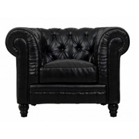 Zahara Black Leather Chesterfield Club Chair