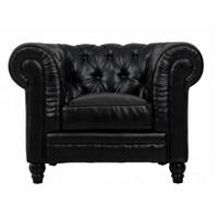 Zahara Black Leather Chesterfield Club Chair
