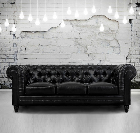 Zahara tufted black leather chesterfield sofa zin home for Couch shopping