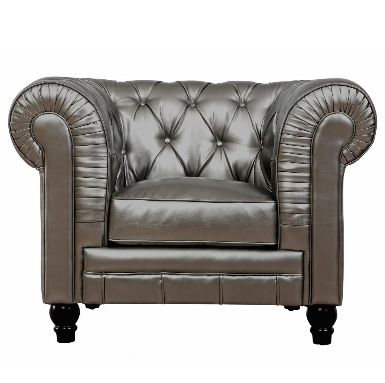 Zahara Silver Leather Chesterfield Club Chair Zin Home