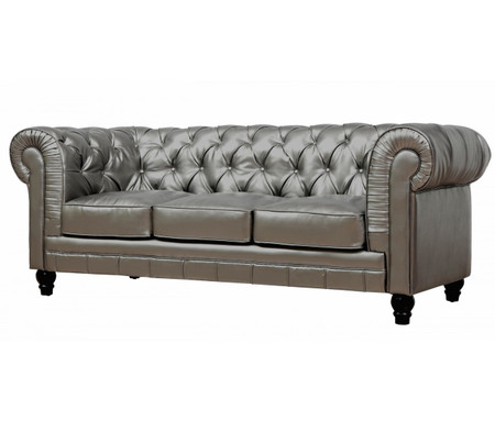 Zahara Tufted Silver Leather Chesterfield Sofa Zin Home