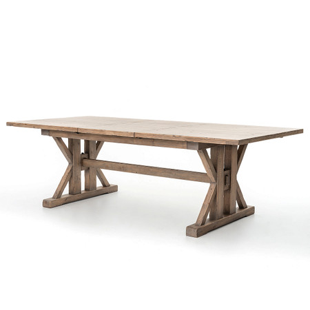 Dining Room Tables Coastal Natural Wood Trestle Extension Dining Table