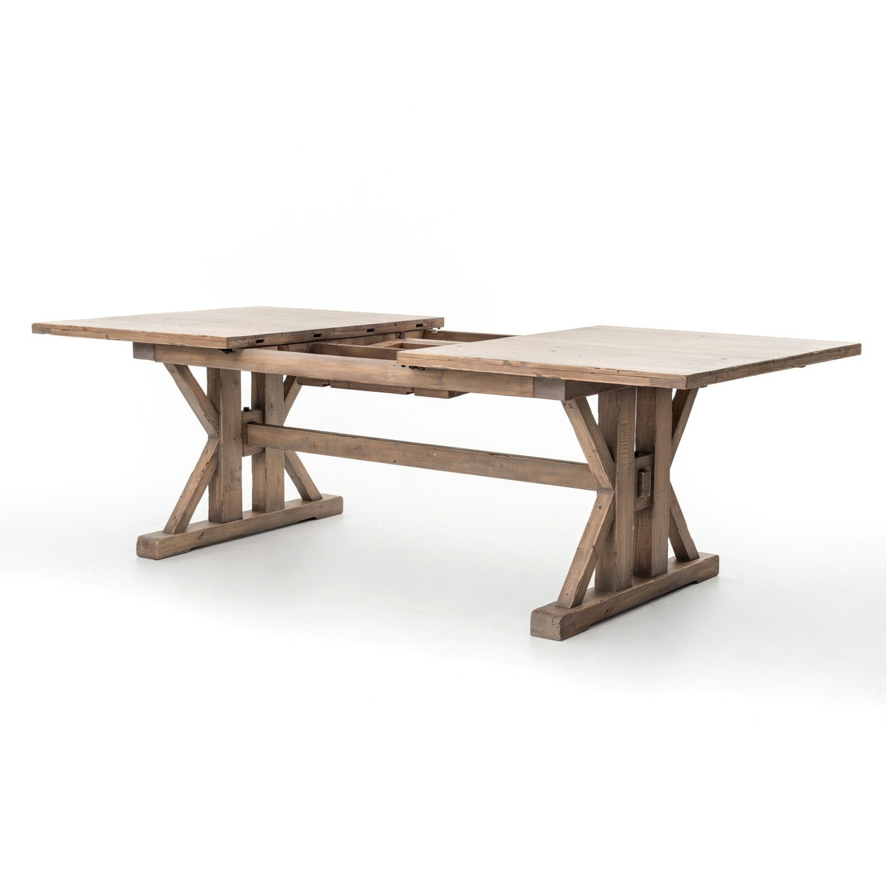 Dining Room Table Extension: Coastal Natural Wood Trestle Extension Dining Table 96