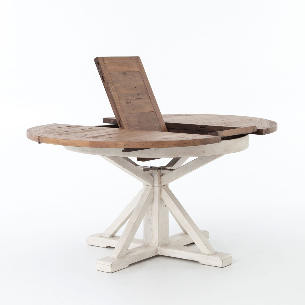 white round extendable dining table with natural table top