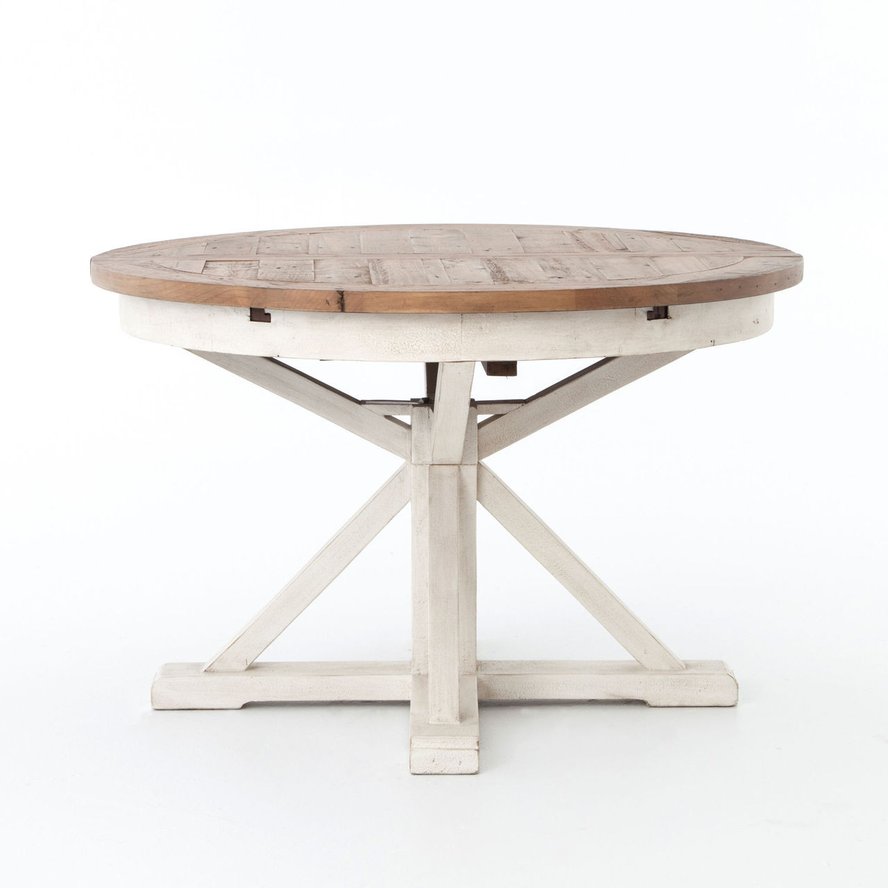 Cintra reclaimed wood white expandable round dining table 47 zin home White round dining table