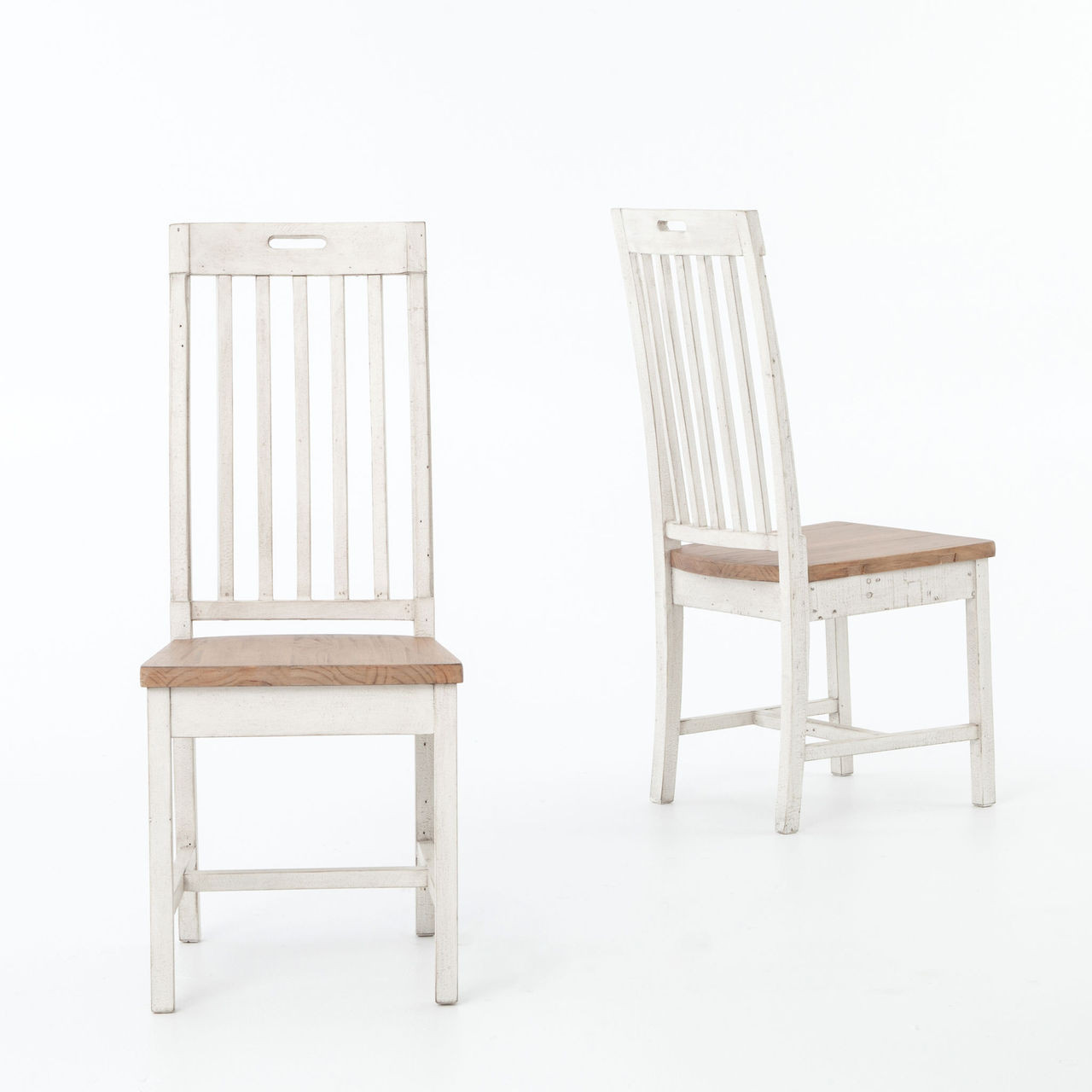 Rustic white dining chairs -  Cintra Rustic White Wood Dining Room Chairs