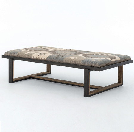 Eclectic iron and kilim upholstered coffee table ottoman zin home Ottoman bench coffee table