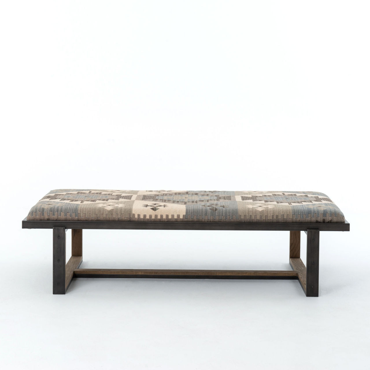 Industrial Coffee Table Ottoman: Eclectic Iron And Kilim Upholstered Coffee Table Ottoman