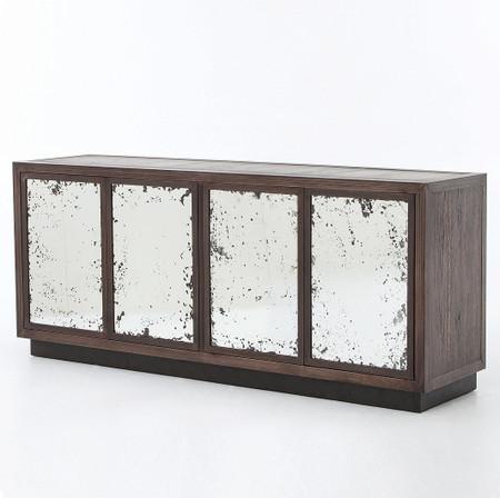 Burnished Black Modern Reclaimed Wood Media Console Zin Home