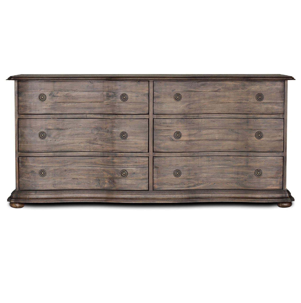 French Solid Wood Rubbed Black 6 Drawer Dresser Zin Home