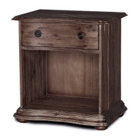 French Solid Wood Black 1 Drawer Nightstand