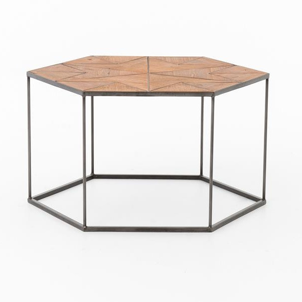 Suffolk Simplicity Reclaimed Wood Square Industrial Coffee: Bronson Reclaimed Wood And Metal Hexagonal Coffee Table