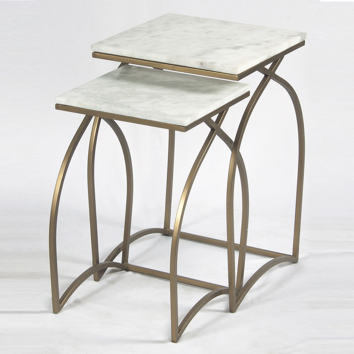 Accent Furniture Ever Matte Brass And White Marble Nesting Tables. Full resolution  photograph, nominally Width 1200 Height 1200 pixels, photograph with #7A6B51.
