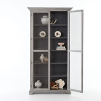 Carrington Farmhouse Grey Alder Wood Tall Cabinet with Doors