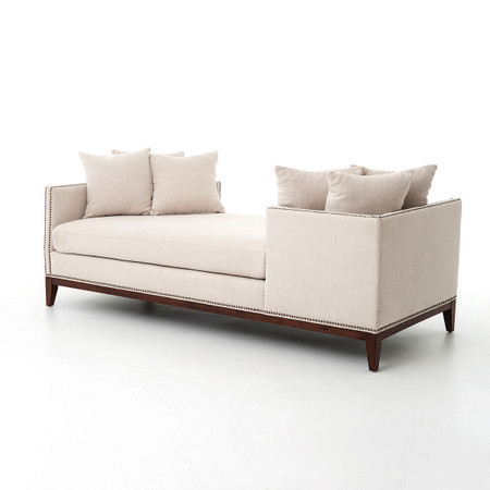 Kensington Beige Linen Upholstered Double Chaise Daybed