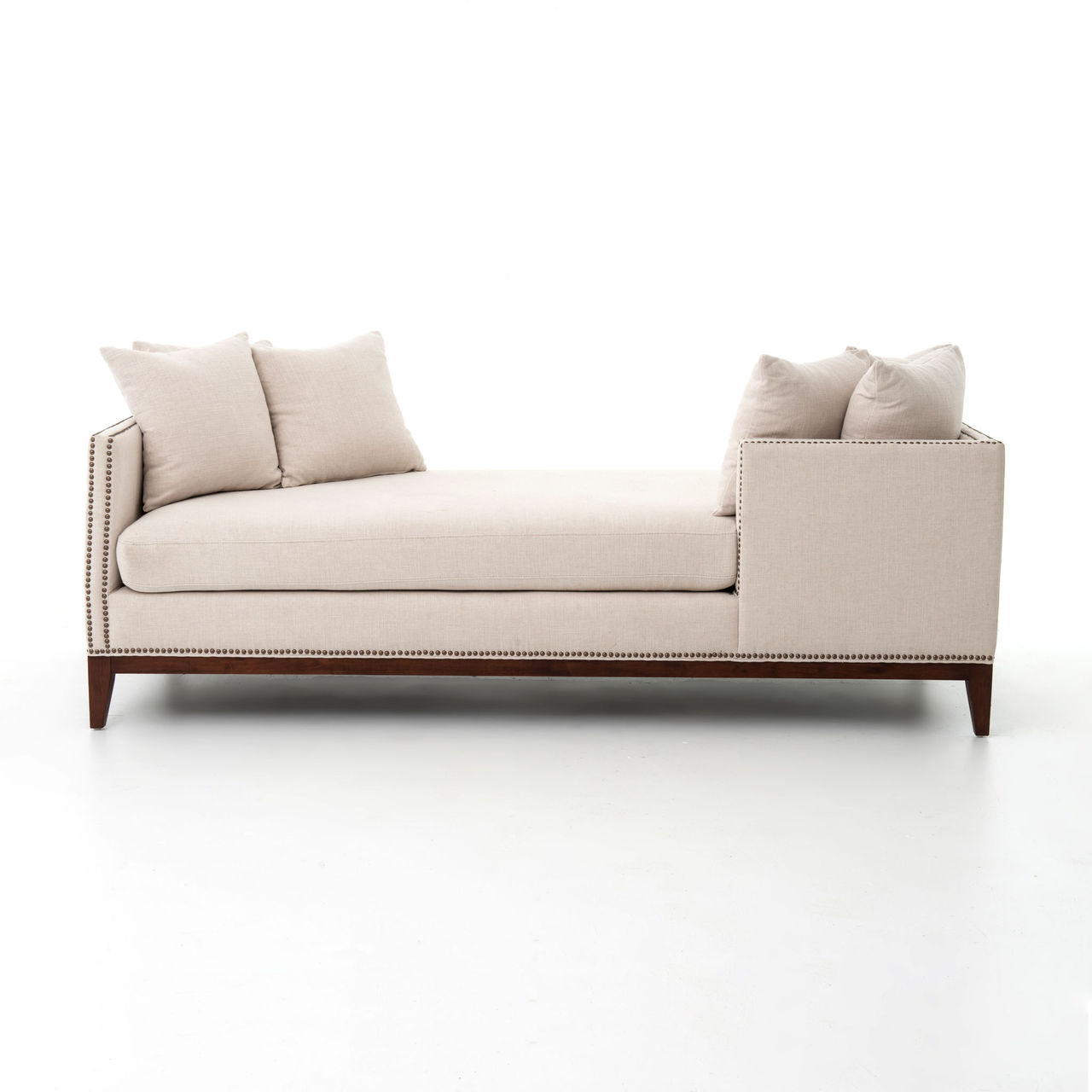 kensington beige upholstered double chaise daybed sofa