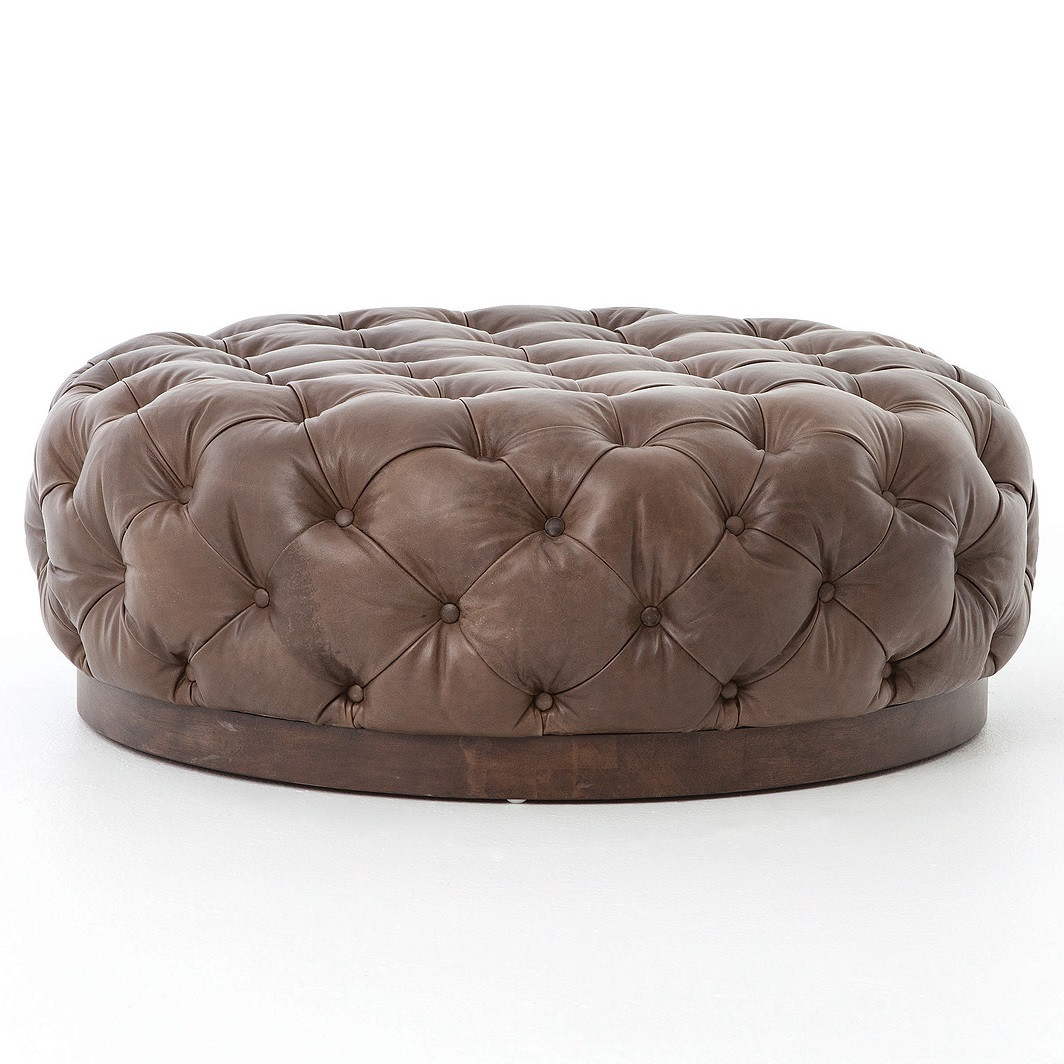 plateau round tufted leather cocktail ottoman zin home. Black Bedroom Furniture Sets. Home Design Ideas
