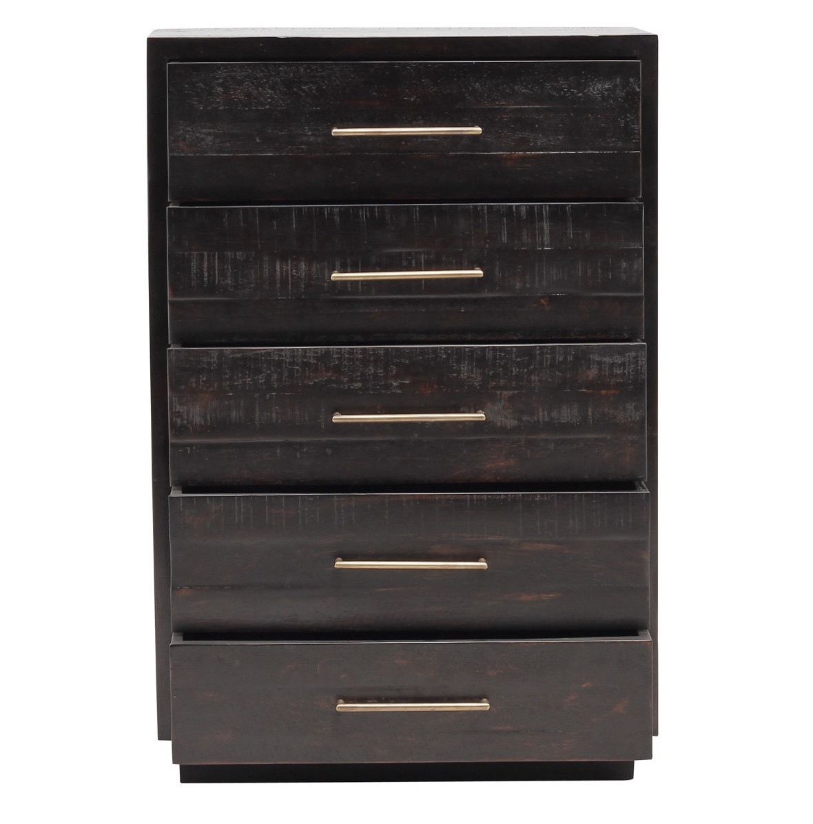 Modern Burnished Black Wood 5 Drawer Tall Chest Zin Home