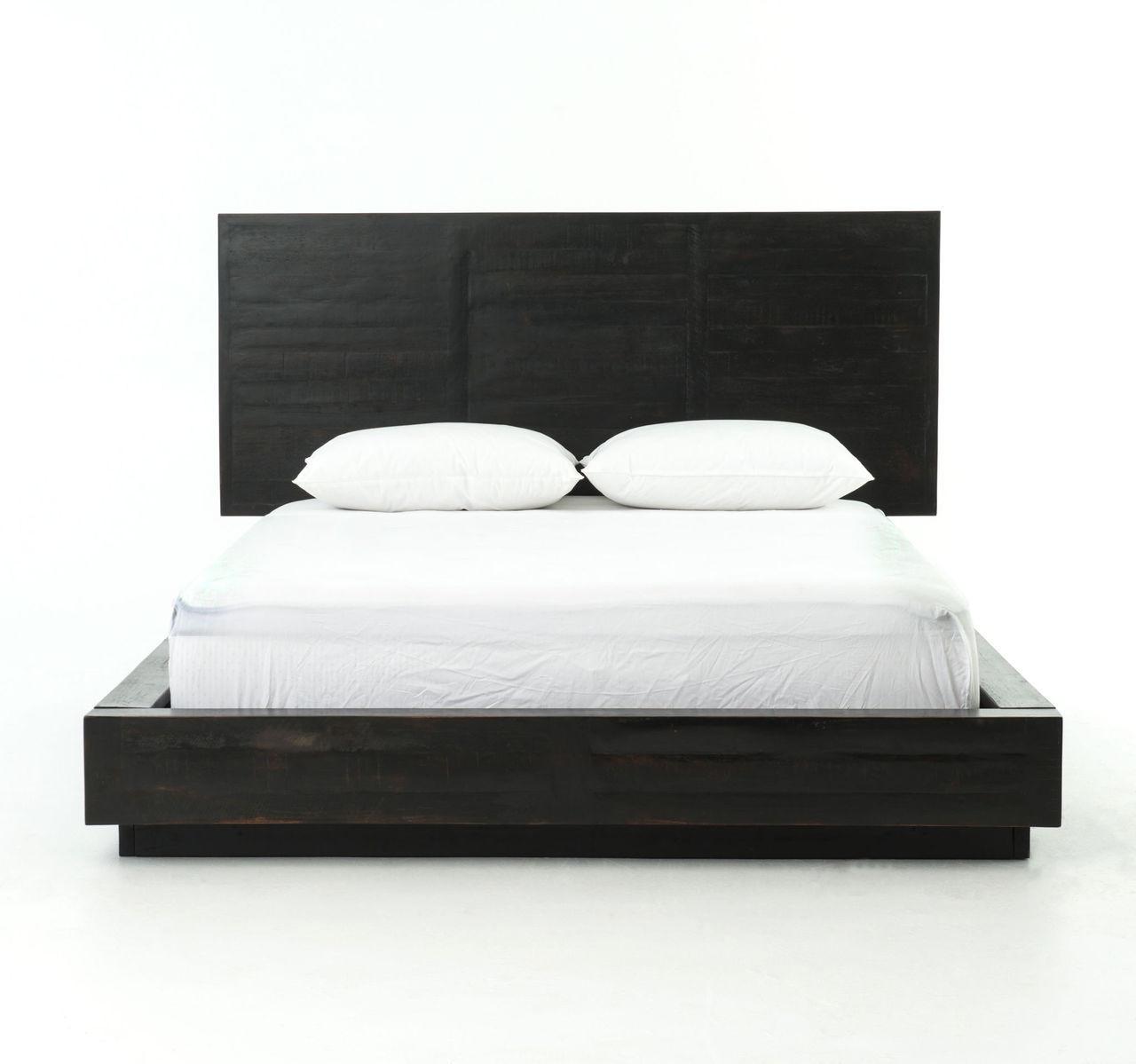 suki modern black queen platform bed with headboard - Black Wood Bed Frame