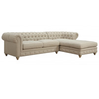Right Facing Oxford Beige Linen Upholstered Chesterfield Sectional Sofa