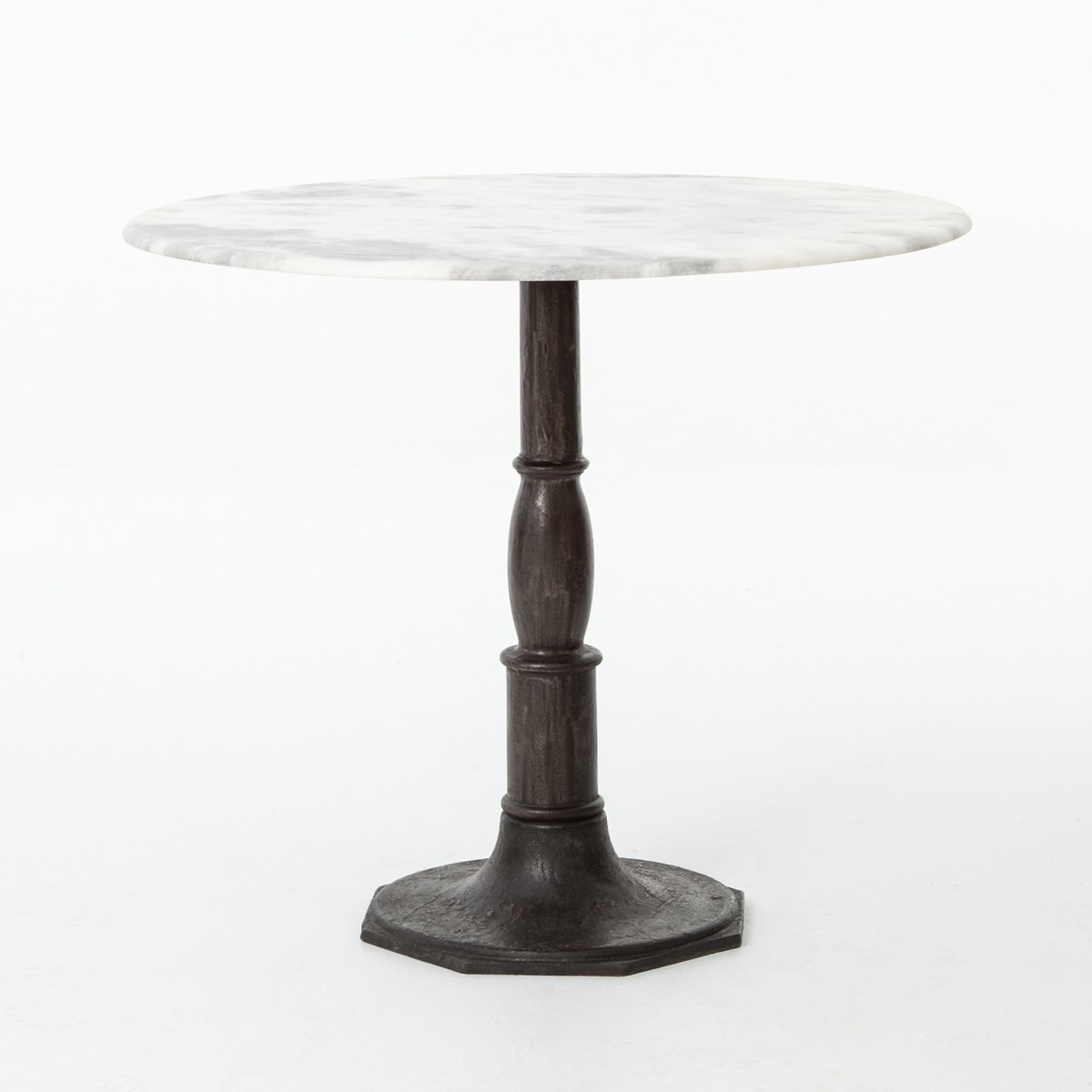 Marble Bistro Accent Table: French Industrial White Marble Top Round Bistro Table