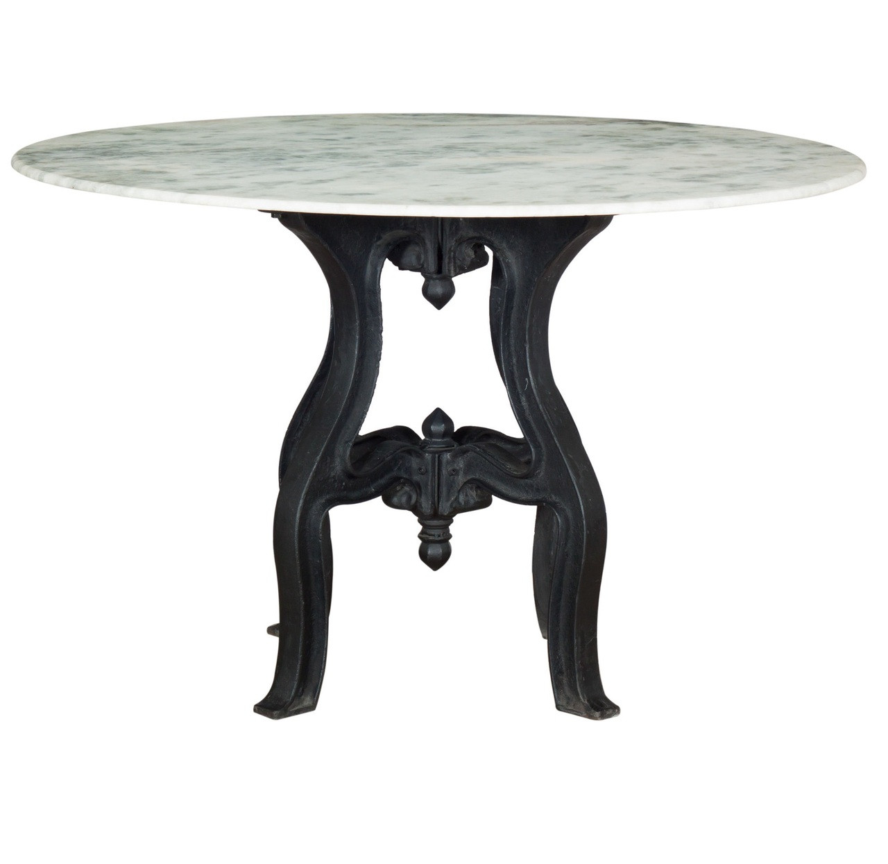 French Industrial White Marble Top Round Dining Table 48
