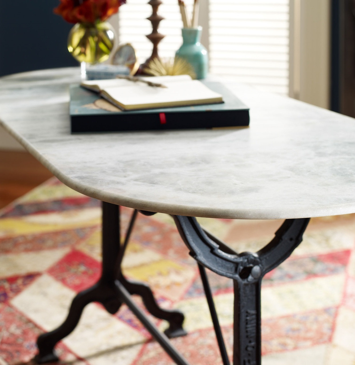 French Industrial White Marble Top Oval Writing Desk Zin