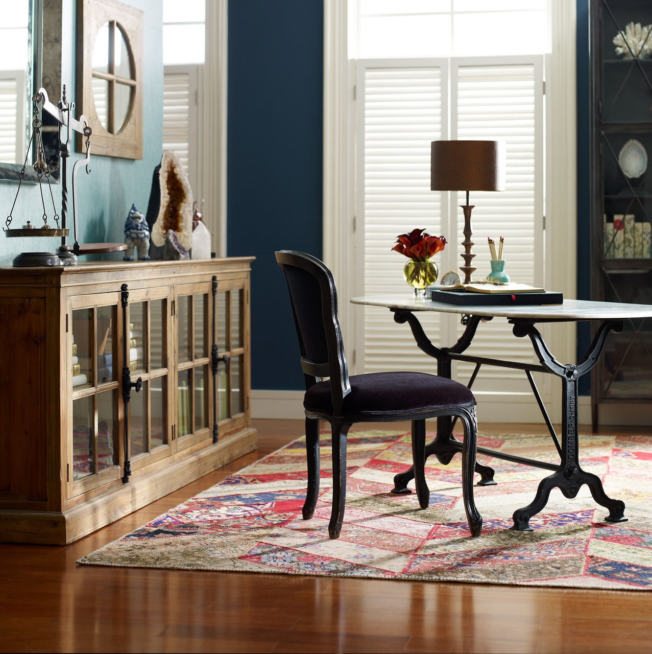 Marble Office Furniture ~ French industrial white marble top oval writing desk zin