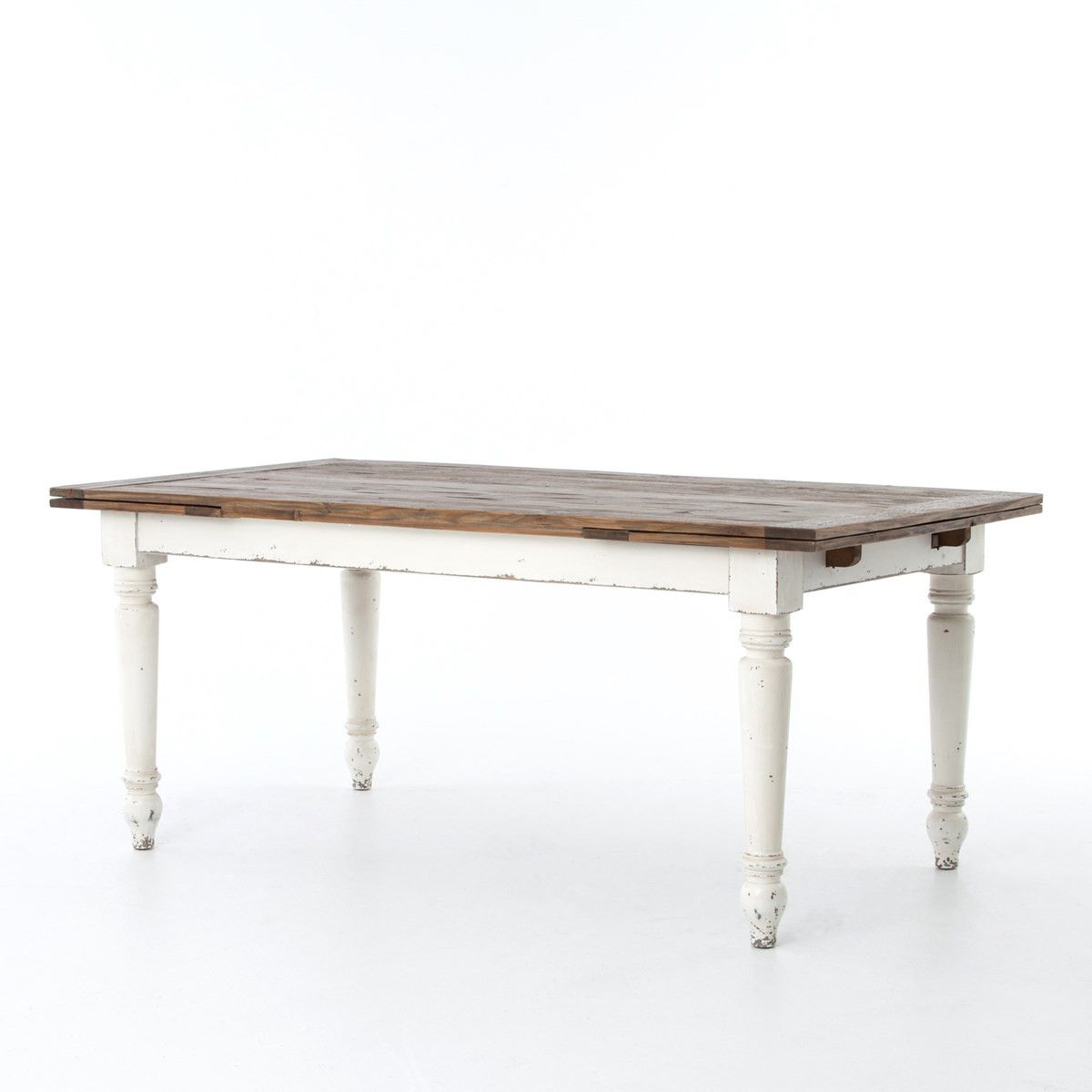 Cottage Reclaimed Wood White Expanding Dining Table 72 110