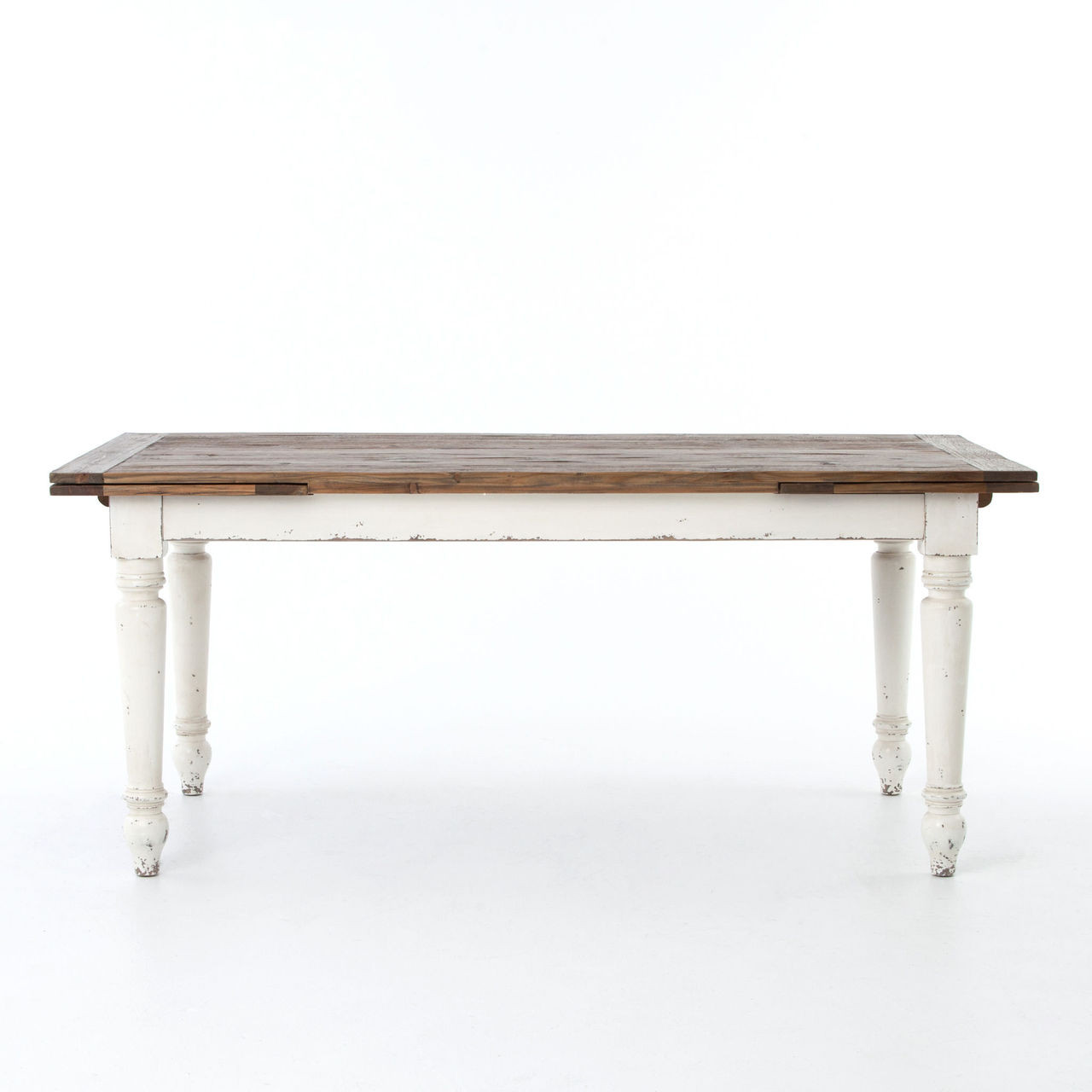 Cottage Reclaimed Wood White Expanding Dining Table 72 110 Zin Home