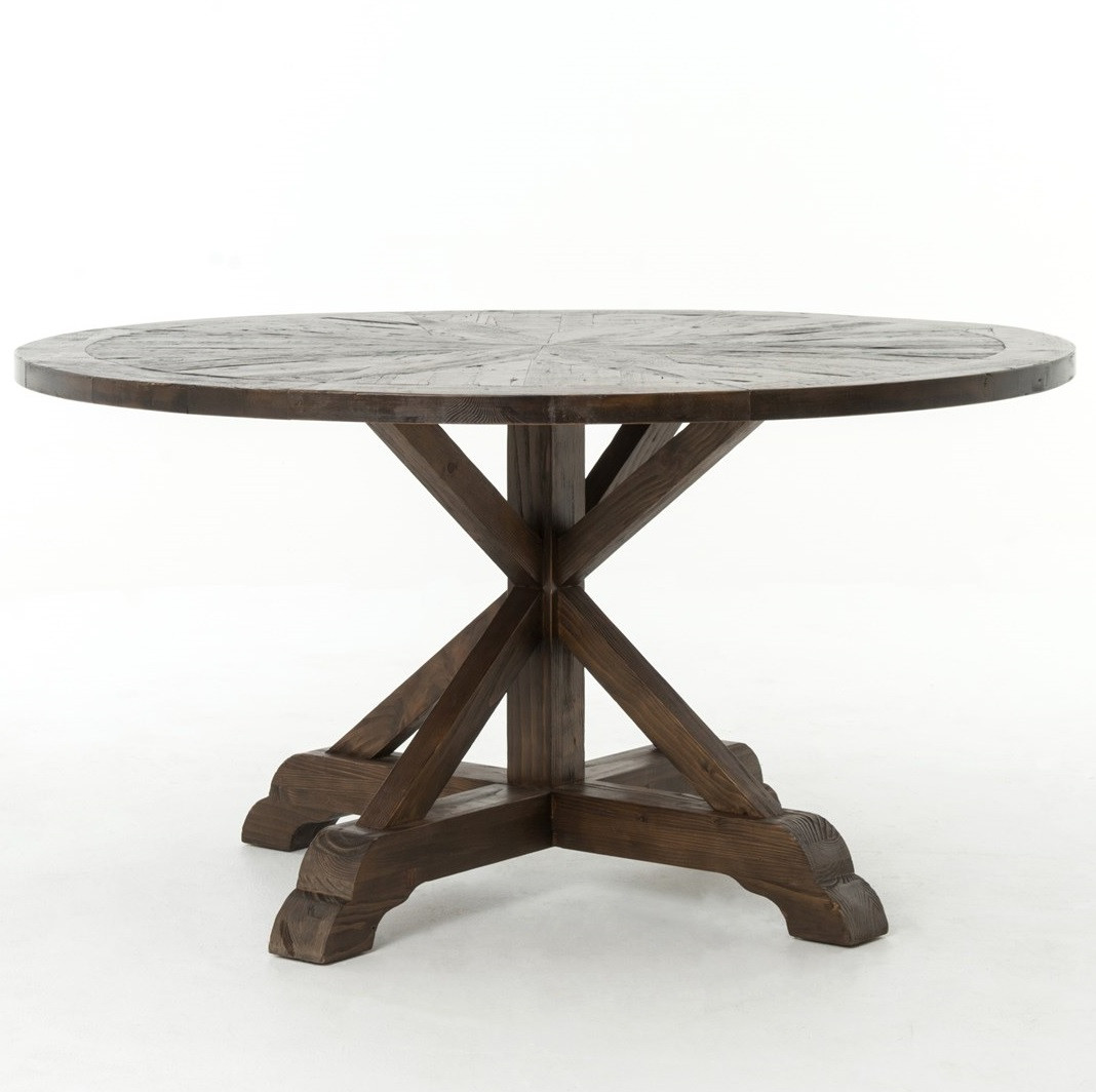 Umber reclaimed wood 59 round pedestal dining table zin for Round wood dining room table