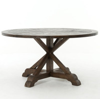 "Weathered Umber Reclaimed Wood 59"" Round Pedestal Dining Table"