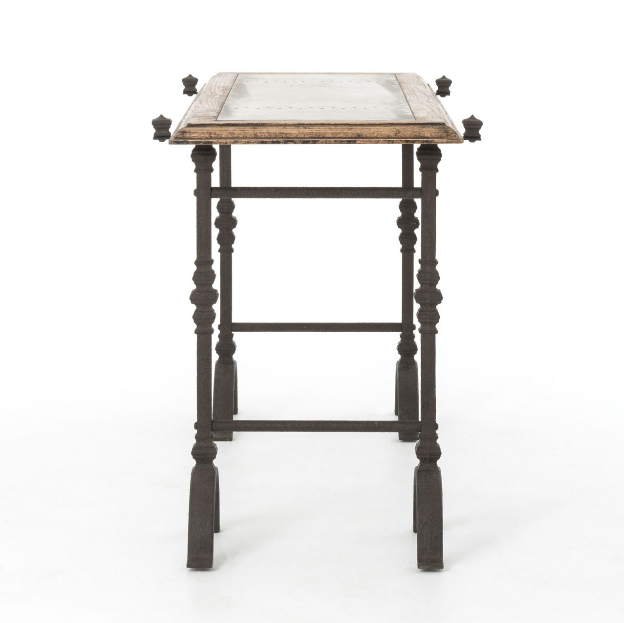 Rustic Iron Console Table ~ Industrial galvanized iron rustic oak foundry console