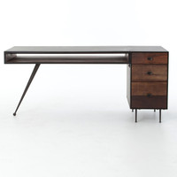 Eric Industrial Modern Executive Desk with File Cabinet