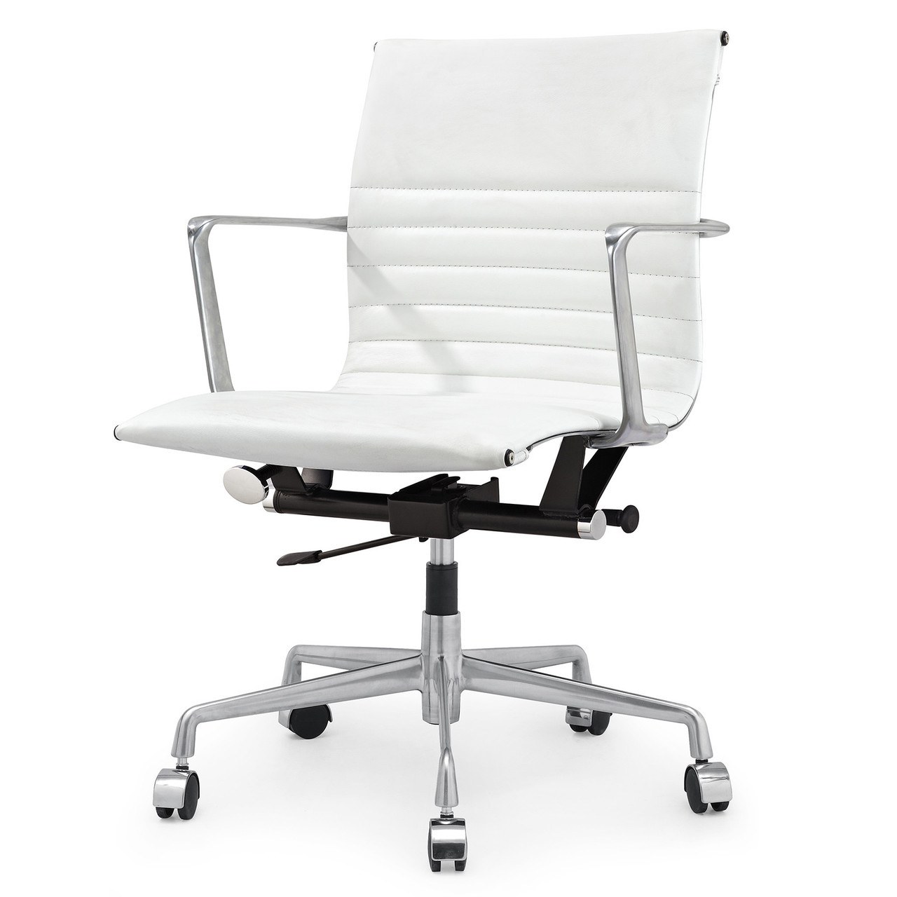 White italian leather m346 modern office chairs zin home for Modern office chair white